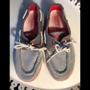 Sperry Topsider, youth, sz 1.5, red & grey